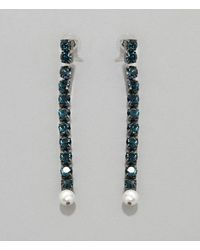 Christopher Kane Single Crystal Cupchain Earring - Blue