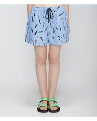 Christopher Kane Paint Fleck Cotton Shorts - Blue
