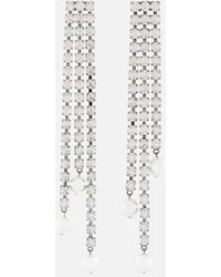Christopher Kane Crystal Cupchain Pearl Earrings - Multicolor