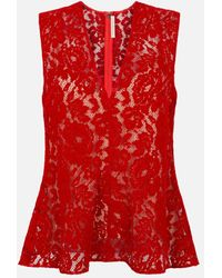 Christopher Kane Flock Lace Bell Top - Red