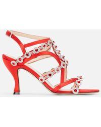 Christopher Kane Crystal Satin Sandal - Red