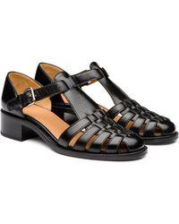 Church's Shine Calf Leather Low Heeled Sandal - Black