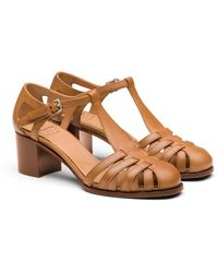 Church's Smart Nappa Leather Mid Heel Sandal - Natural