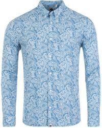 Pretty Green Lescott Paisley Print Shirt - Blue