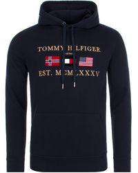 TOMMY HILFIGER Uomo Felpa lounge in cotone blu navy con logo