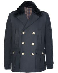 Balmain Double-breasted Wool Coat Black