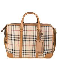 Burberry Newburg Check Briefcase Tan - Brown