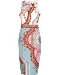 d7e94eb9d0da Ted Baker Versailles Jacquard Dress Coat in Blue - Lyst