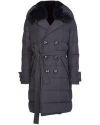 DSquared² Womens Fur Collar Trench Coat - Black