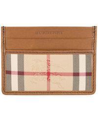 Burberry - 'sandon' Check Card Wallet Tan - Lyst