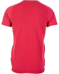 Armani - Double V-neck Contrast Fabric T-shirt - Lyst