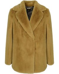 Ted Baker Zenna Double Breasted Faux Fur Coat - Yellow