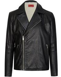 HUGO Boss Slim-fit Leather Jacket - Black