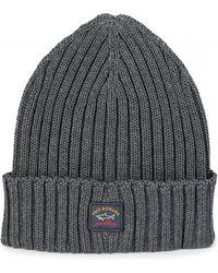 a61ff3165ac Paul   Shark - Ribbed Logo Beanie Hat Grey - Lyst
