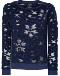 Armani Jeans Womens Mesh Jumper - Blue