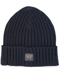 995694bdd34 Paul   Shark - Ribbed Logo Beanie Hat Navy - Lyst