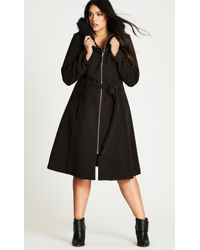 City Chic - Miss Mysterious Coat - Lyst