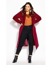 City Chic Romantic Luxe Wool Blend Coat - Red