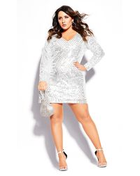 City Chic Bright Lights Dress - White