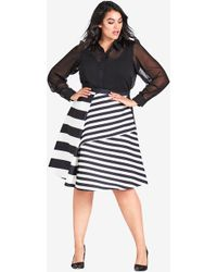 City Chic - Power Lines Skirt - Lyst