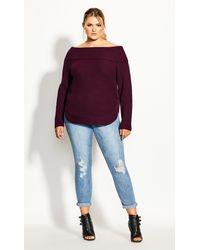 City Chic Scoop Me Up Sweater - Purple