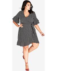 City Chic - White Stripe Chenelle Dress - Lyst