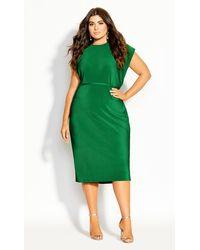 City Chic Baby Pleat Dress - Green