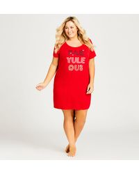 """City Chic Fab """"yule"""" Ous Sleepshirt - Red"""