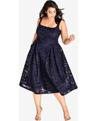 City Chic - Navy Jackie O Dress - Lyst