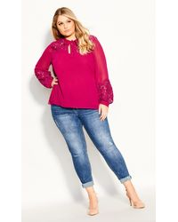 City Chic Mysterious Lace Top - Pink