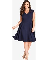 City Chic Navy First Place Dress - Blue