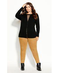 City Chic Criss Cross Sweater - Black