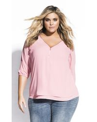 City Chic Sexy Fling Elbow Sleeve Top - Pink
