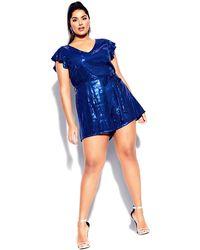 City Chic Sequin Playsuit - Blue