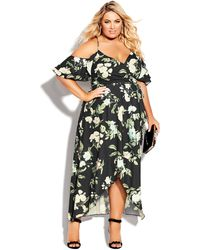 City Chic - Tender Floral Maxi Dress - Lyst