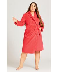 City Chic Coral Robe - Pink