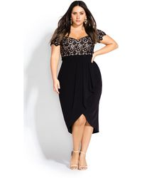 City Chic Glamour Lace Dress - Black