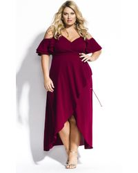 City Chic Miss Jessica Maxi Dress - Purple