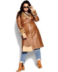 City Chic Spanish Romance Coat - Brown