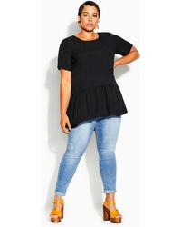 City Chic Breezy Frill Top - Black