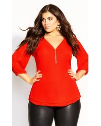 City Chic Sexy Fling Elbow Sleeve Top - Red