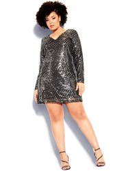 City Chic Bright Lights Dress - Black