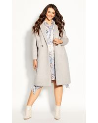 City Chic Luxe Lover Wool Blend Coat - Natural