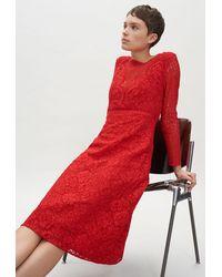 Claudie Pierlot Robe longue en guipure rouge