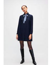 Claudie Pierlot Robe chemise plissée détail lavallière - Bleu