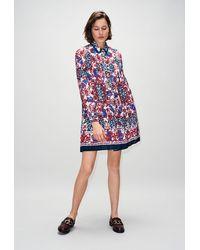 Claudie Pierlot Robe chemise plissée imprimée foulard - Multicolore