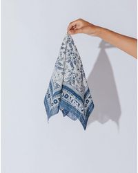 Cleobella Embroidered Woodblock Scarf   - Blue