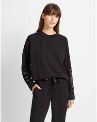 Club Monaco Black Satin Stripe Sweatshirt