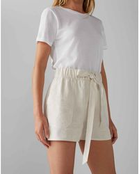 Club Monaco Khaki Tan/white Belted Pull-on Shorts