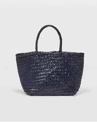 Club Monaco Navy Woven Leather Bag - Blue
